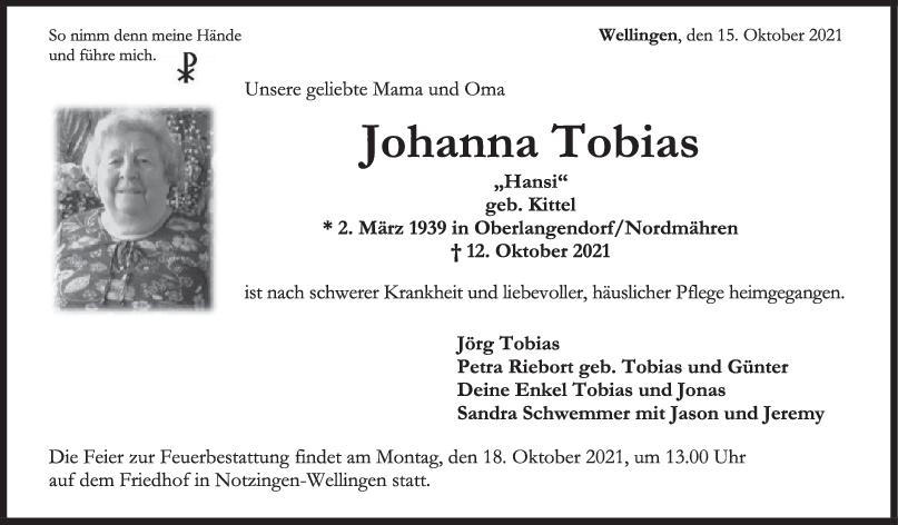 Trauer Johanna Tobias <br><p style=
